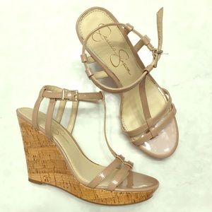 Jessica Simpson Pink Ankle Strap Wedges